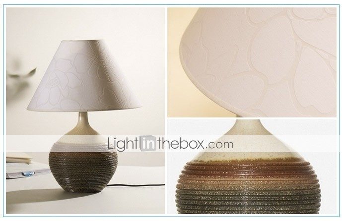 Table Lamp of Hand Made Porcelain with Floral Pattern