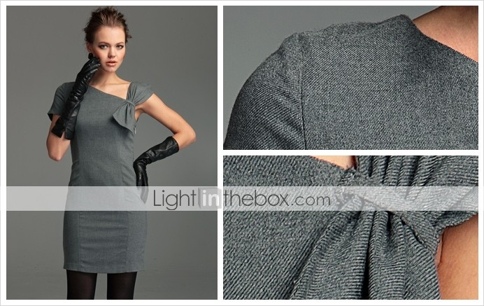 TS Vintage Style Asymmetrical Wool Blend Sheath Dress
