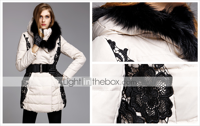 TS Lace Embroidery Puffer Jacket