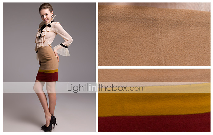 TS Tri Color Long Wool Blended Skirt