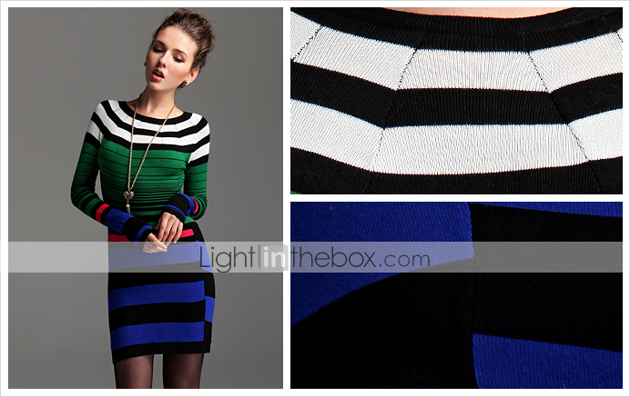 TS Color-block Knit Sweater Dress