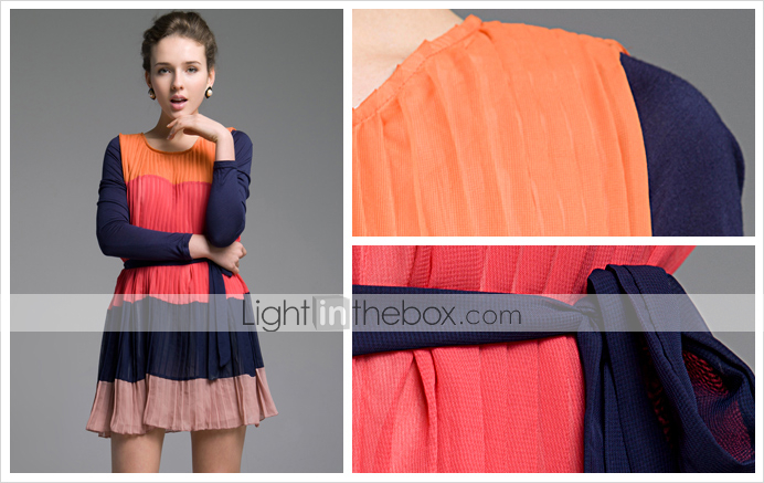 TS Chiffon Color Block Stripe Pleat Dress
