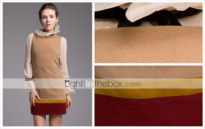 TS Tri Color Long Wool Blended Dress