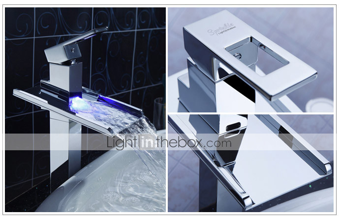 cospargere  by lightinthebox - cambiamento di colore ha portato cascata lavandino rubinetto del bagno (alto)