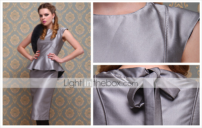 TS Vintage Style Silver Peplum Sheath Dress