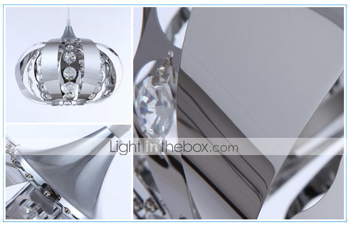 Artistic Crystal Pendant Light in Metal