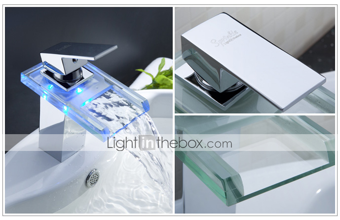 espolvoree ® de LightInTheBox - cambio de color baño llevó cascada grifo del fregadero