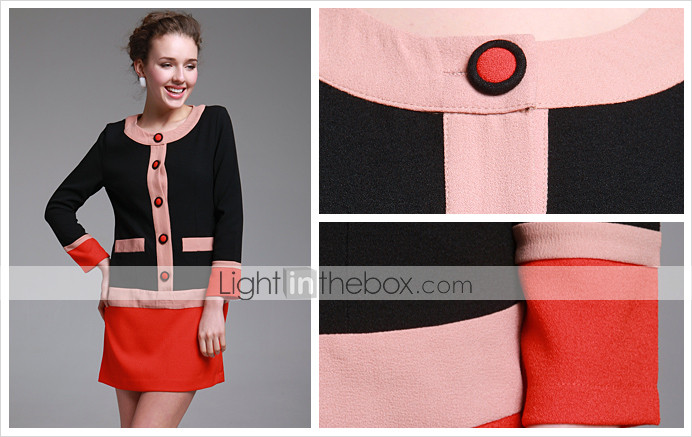 TS Round Neck Color block Button Dress