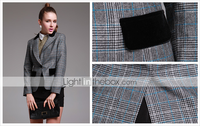 TS Checkered Wool Blazer Jacket