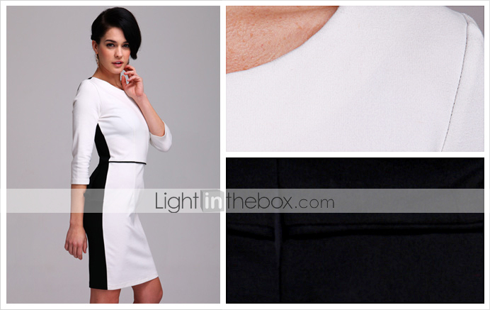 TS Simplicity Contrast 3/4 Sleeve Sheath Dress