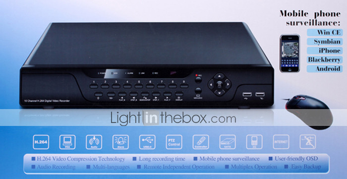16 Channel H.264 DVR (Dual-stream Transmission, Real-time Playback)