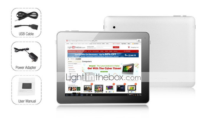 Lagoon - Android 2.3 Tablet with 9.7 Inch Capacitive Touchscreen, Android 3 Interface (16GB, 1.2GHz, 2.0MP Camera, 1080p)