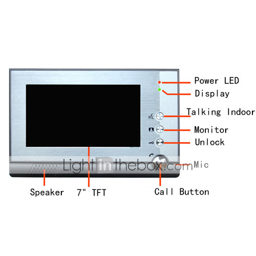 drei 7 Zoll Farb-TFT-LCD-Video-Türsprechanlage Intercom-System (2 wasserdichte Kamera)