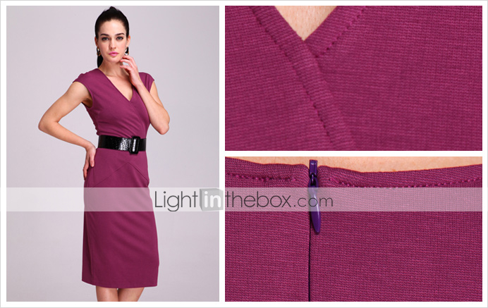 TS V-neck Sleeveless Sheath Dress (Belt excluded/More Colors)
