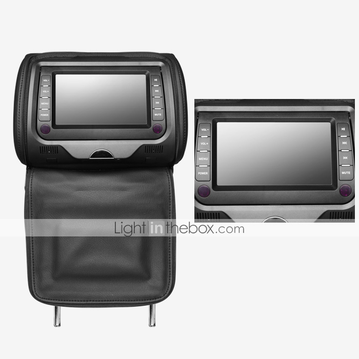 7 Inch Car Headrest DVD Player 1 Pair (Detachable Panel, SD/USB, Game, IR Transmitter)