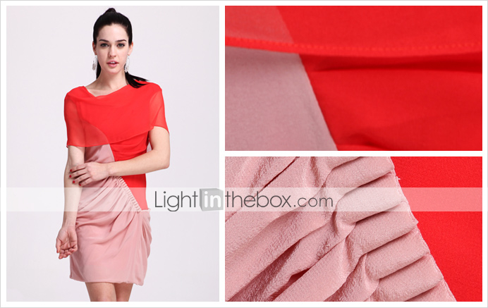 TS Color Block Cow Neck Silk Dress