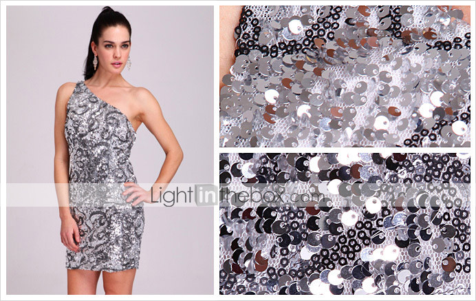 TS One-shoulder Sequin Embellished Dress