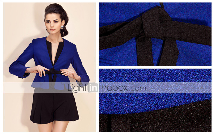 TS Contrast Color Bow Blazer