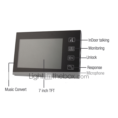 7 pollici TFT LCD videocitofono touch key + 2 a prova di pioggia, unit esterne