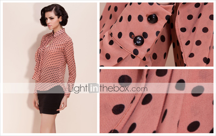 ts polka dot met volants chiffon blouse overhemd