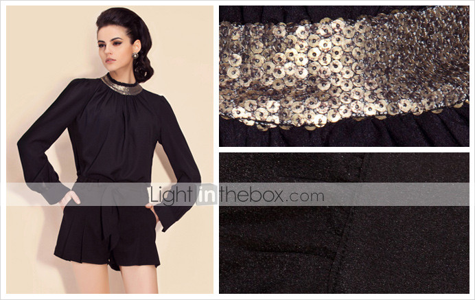 TS Sequin Pleated Lantern Sleeve Blouse Top