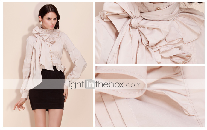 TS Detachable Collar/Waist Bow Standing Collar Shirt