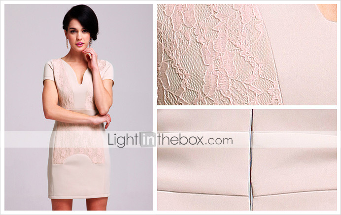 TS Heart-shaped Lace Sheath Dress