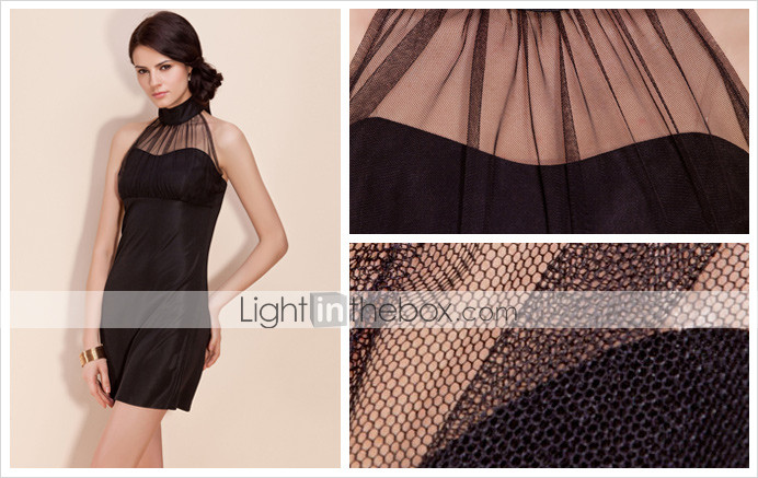 TS Mesh Halter Mini Dress (More Colors)
