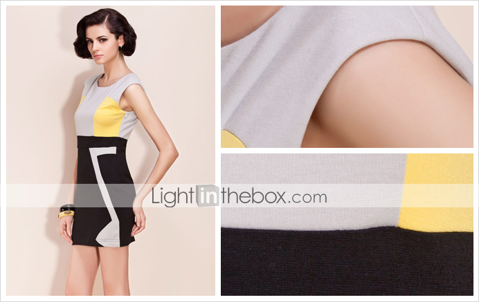 TS Geometric Mosaic Body Con Dress