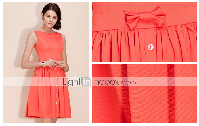 TS Classic Casual Short Swing Dress With Square Neckline Backside