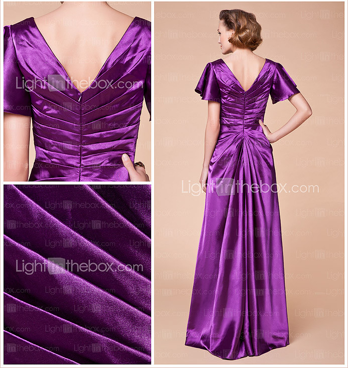 Sheath/Column V-neck Floor-length Stretch Satin Mother of the Bride Dress