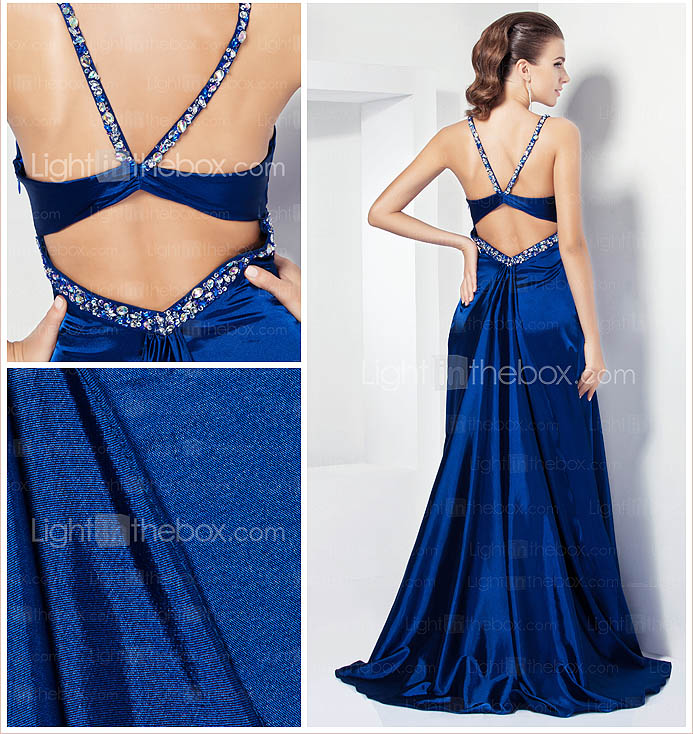A-line Spaghetti Straps Sweep/ Brush Train Stretch Satin Evening Dress