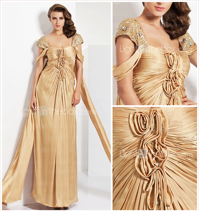 Sheath/ Column Straps Floor-length Charmeuse Evening Dress