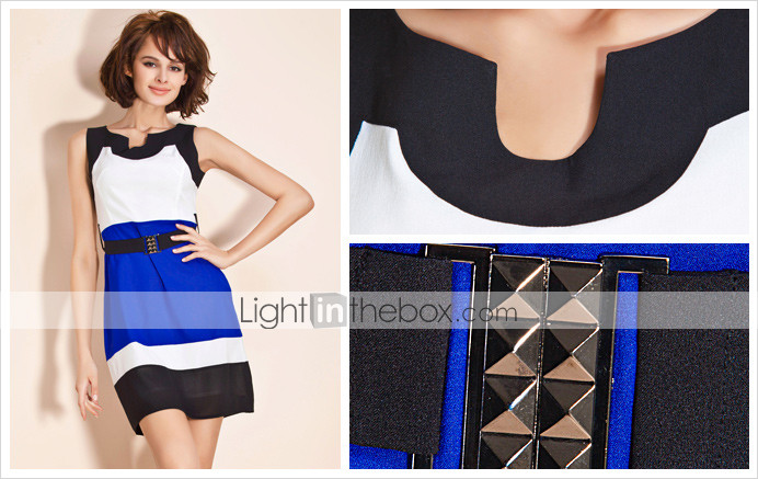 TS Tri-color Belted Dress