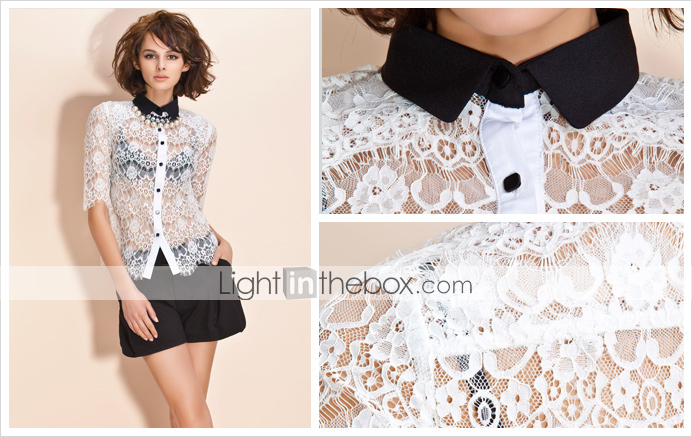 TS Button-down Lace Layering Blouse Shirt (More Colors)