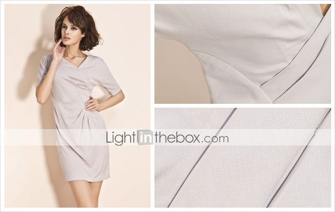 TS Side Pleated Sheath Dress