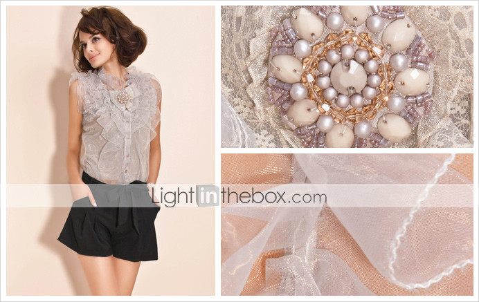 TS Luxury Multi-layered Flower Organza Two-piece Shirt