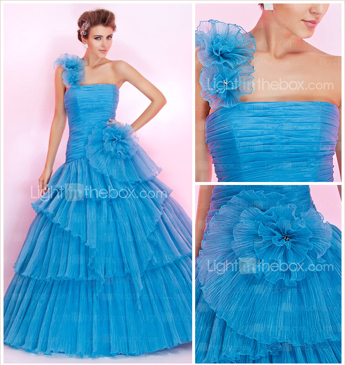Ball Gown One Shoulder Floor-length Organza Prom Dress