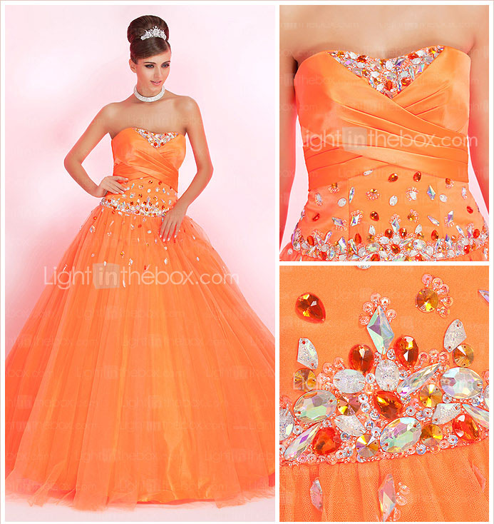 Ball Gown Strapless Floor-length Tulle Prom Dress