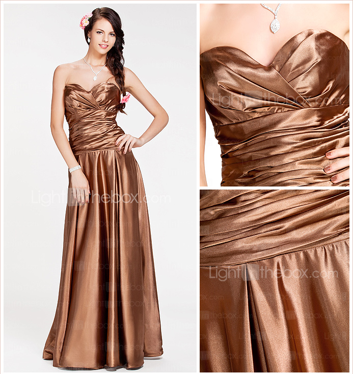A-line Sweetheart Floor-length Stretch Satin Bridesmaid Dress