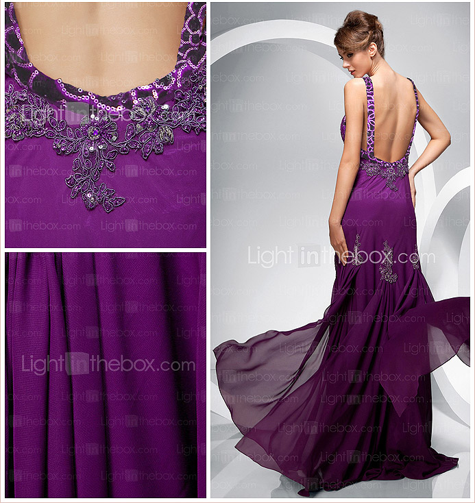 Sheath/Column Scoop Floor-length Chiffon Evening Dress