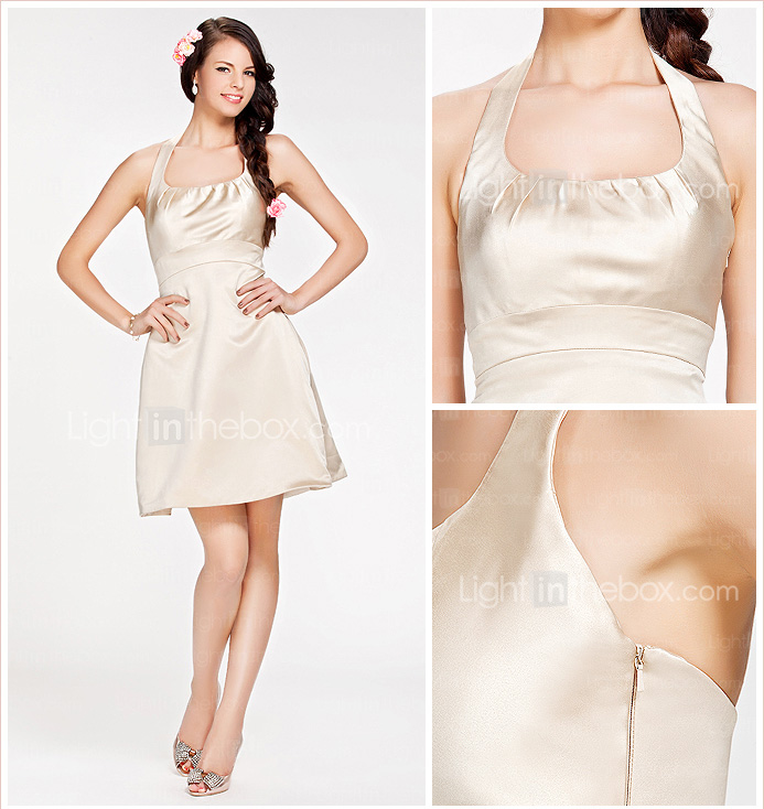 A-line Halter Short/Mini Satin Bridesmaid Dress