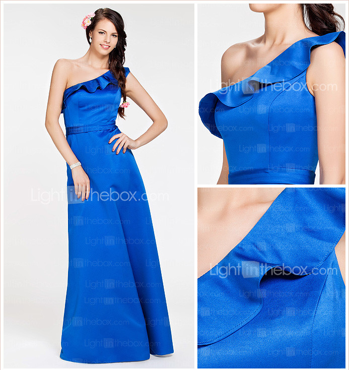 A-line One Shoulder Floor-length Satin Bridesmaid Dress