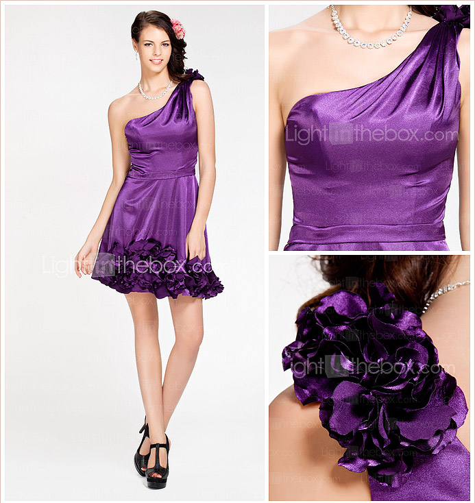 A-line One Shoulder Short/ Mini Stretch Satin Bridesmaid Dress
