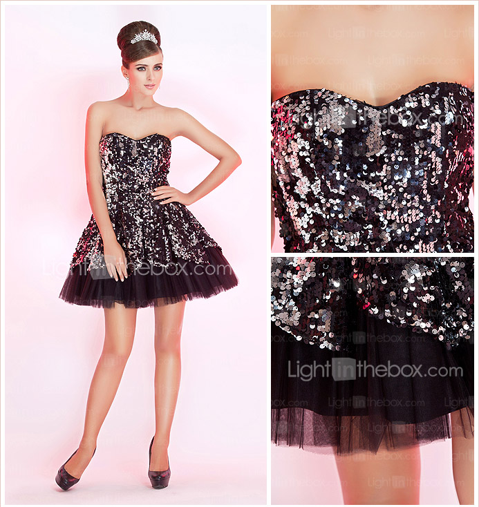 A-line Sweetheart Short/Mini Sequined Cocktail Dress