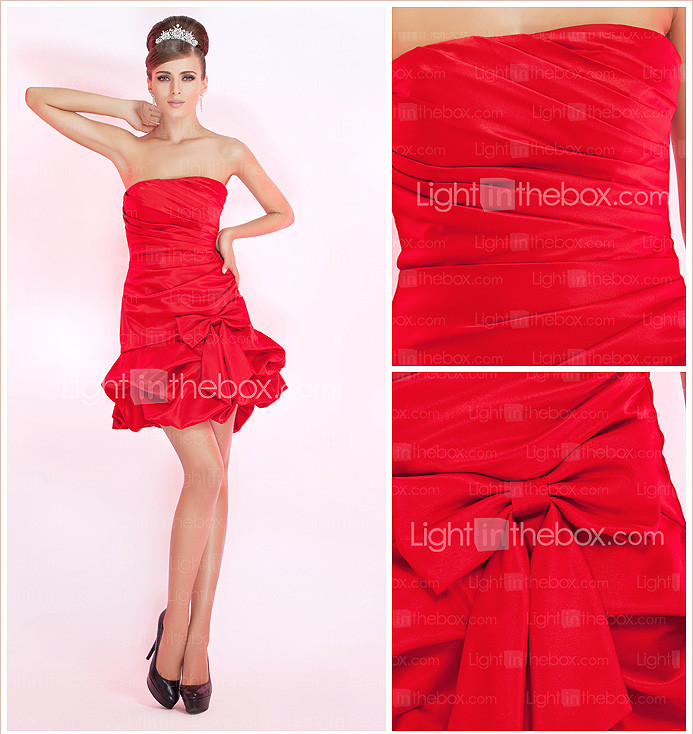 A-line Strapless Short/Mini Satin Cocktail Dress