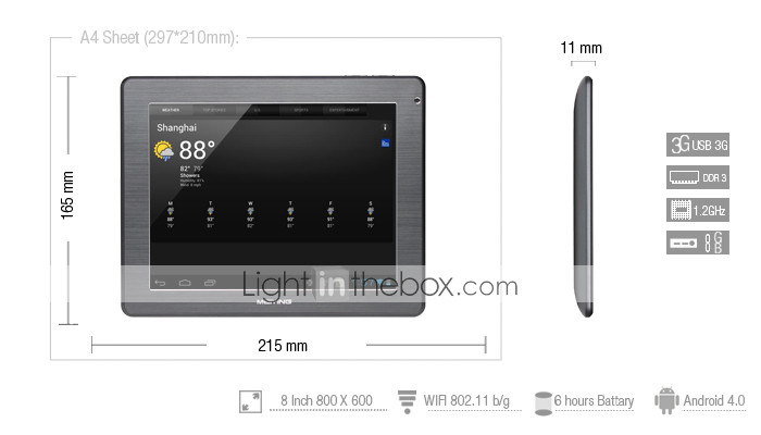 Meiying Gray - HD 4,0 Tablet Android con 8 pollici touchscreen capacitivo (1.2GHz, grafica 3D, 1080p)