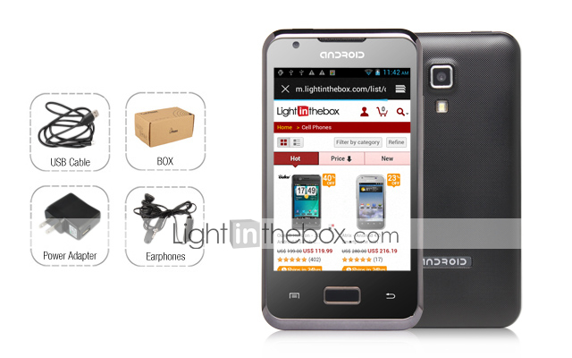 bue - android 4,0 smartphone med 3,5 tommer kapacitive touchscreen (dual sim, wifi)