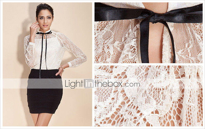 TS High Neck Ribbon Lace Blouse Shirt