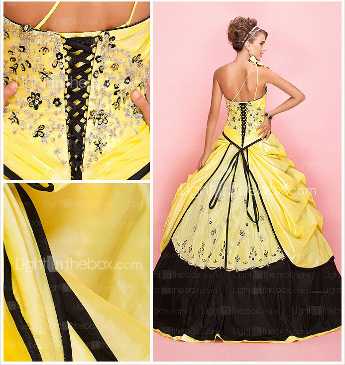 Ball Gown One Shoulder Floor-length Taffeta Prom Dress With Pick-up Skirt